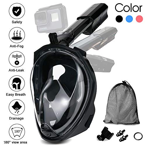 Jasonwell Snorkel Mask Full Face 180°Panoramic View Foldable Full Face Snorkeling Mask with Camera Mount Breathe Easy Snorkel Gear Set Anti-Fog Anti-Leak for Adults & Kids (Black L/XL)