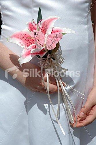 Beautiful, Modern Pink Stargazer Lily Wedding Flowergirls Wand