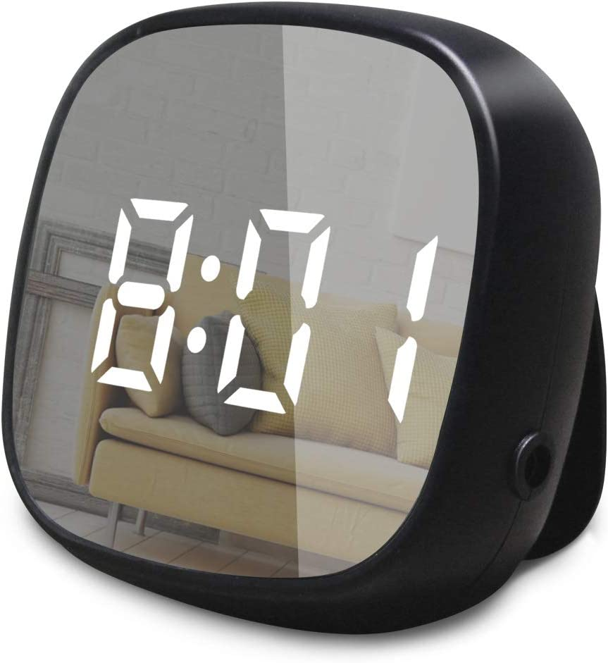 GLOUE Travel Alarm Clock Small Bedside Digital Alarm Clock Dimmable Magnetic Kitchen LED Alarm Clocks with Sound Control,Simple Operation, Battery Backup Clock for Kids Bedroom Office