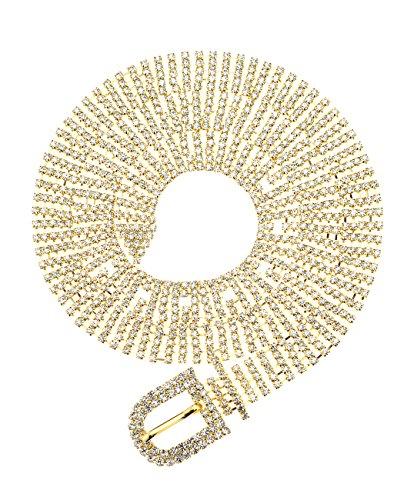 - NYFASHION101 Dressy 5 Row Rhinestone Sparkly Chain D-Buckle Belt NBTM1019Y, Gold-Tone