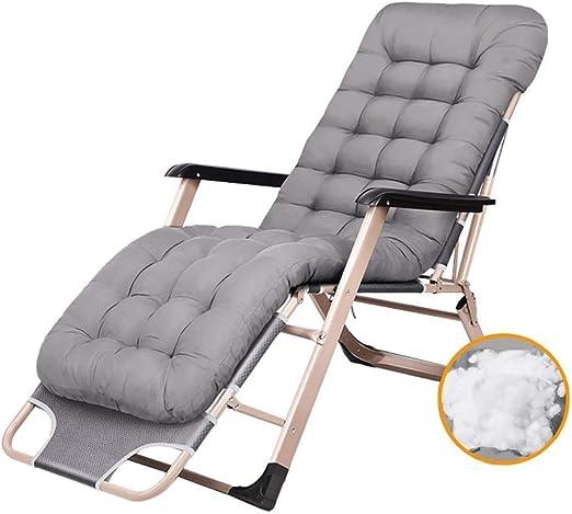 Mueble de jardín/Cómodas sillas Plegables for Patio Silla reclinable de jardín reclinable al Aire Libre Silla con tumbonas y Cojines Soportes de 200 kg Silla de Camping Liviana (Color: Gris): Amazon.es: Jardín