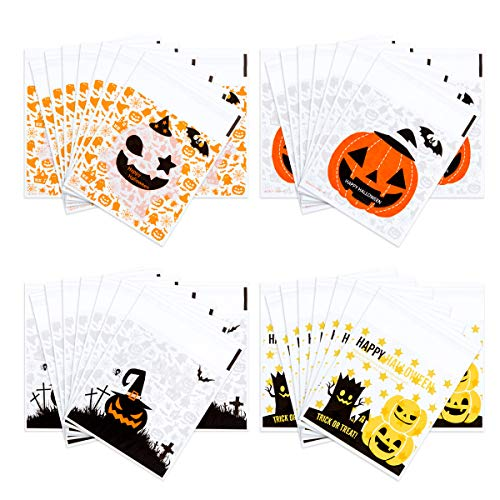 Homemade Halloween Snacks (400PCS Halloween Christmas Self Adhesive Candy Cookie Bags Clear Cellophane Bags 4 Different Style for Bakery Biscuit Chocolate Snacks Dessert Homemade Crafts)