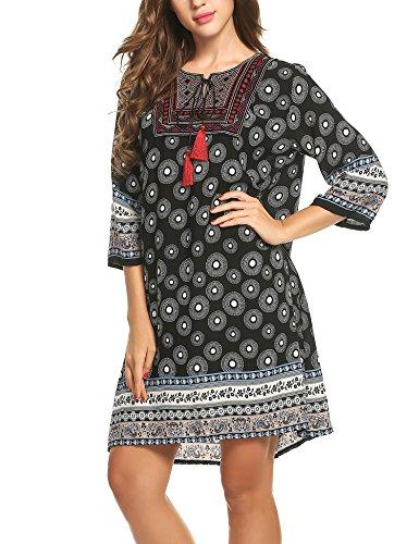Robe Noir Femme Acevog 4 3 Manches Tunique Aqfdw7O