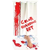 Bloody Bath Mat and Shower Curtain Set - Color Changing Fabric Really Turns Red When Wet, Dries White - Horror Gifts for Her - Includes 27x16IN Floor Mat and 36x72IN (2 Sheets) Bathtub Curtains