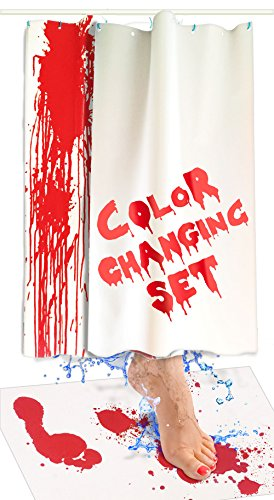 Bloody Bath Mat and Shower Curtain Set - Color Changing Fabric Really Turns Red When Wet, Dries White - Horror Gifts for Her - Includes 27x16IN Floor Mat and 36x72IN (2 Sheets) Bathtub Curtains]()