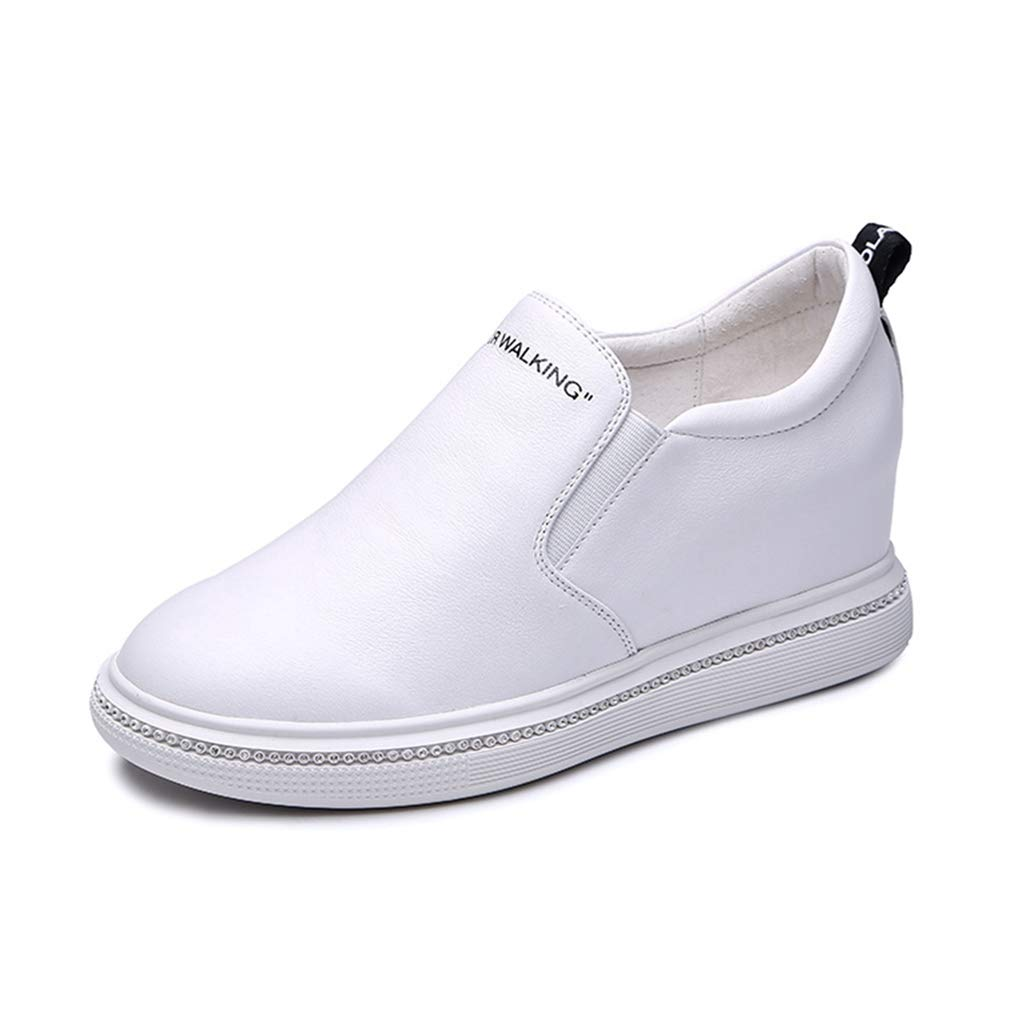 White T-JULY Wedges Sneakers Women Slip-on Genuine Leather Platform shoes for Women Autumn Casual shoes Height Increase