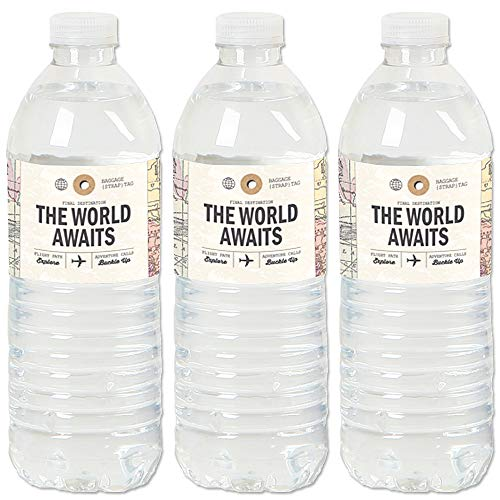 (World Awaits - Travel Themed Party Water Bottle Sticker Labels - Set of 20)