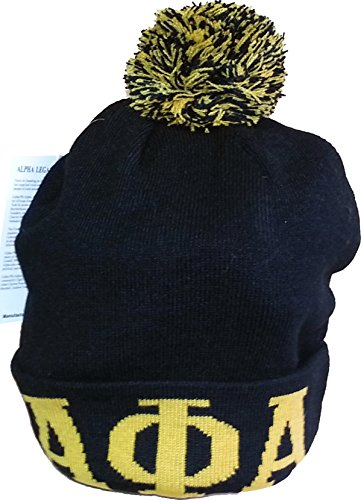 - Buffalo Dallas Alpha Phi Alpha Mens Knit Cuff Beanie Cap with Ball [Black]