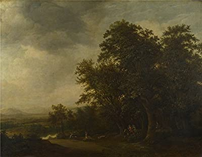 Oil Painting 'Jan De Lagoor A Woody Landscape With A Stag Hunt ' Printing On Polyster Canvas , 10 X 13 Inch / 25 X 33 Cm ,the Best Home Theater Gallery Art And Home Gallery Art And Gifts Is This Beautiful Art Decorative Canvas Prints
