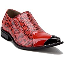 J'aime Aldo Men's Urban 26926 Metal Tip Faux Snake Skin Pointed Loafers Dress Shoes