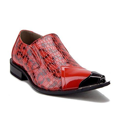 (Jazame Men's Urban 26926 Metal Tip Faux Snake Skin Pointed Loafers Dress Shoes, Red, 8)