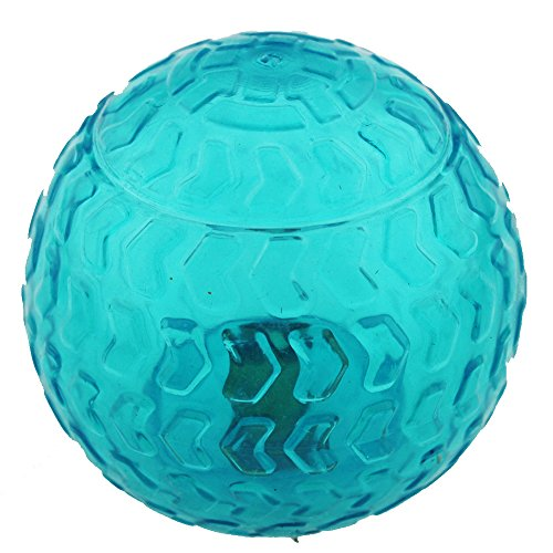 Aduck Pet Puppy Dog Squeaky Ball Toys [Arrow Bouncy Series] [Non-Toxic Soft Natural Rubber], Cute Crystal Ball Design -3.15inch (Crystal Blue)