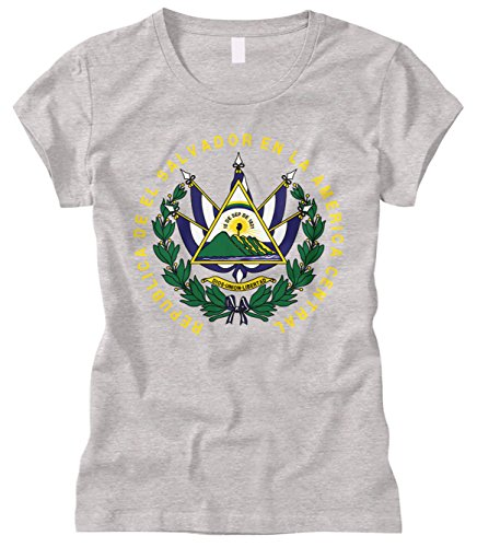 Cybertela Women's EL Salvador Coat Of Arms Fitted T-Shirt (Light Gray, Medium)