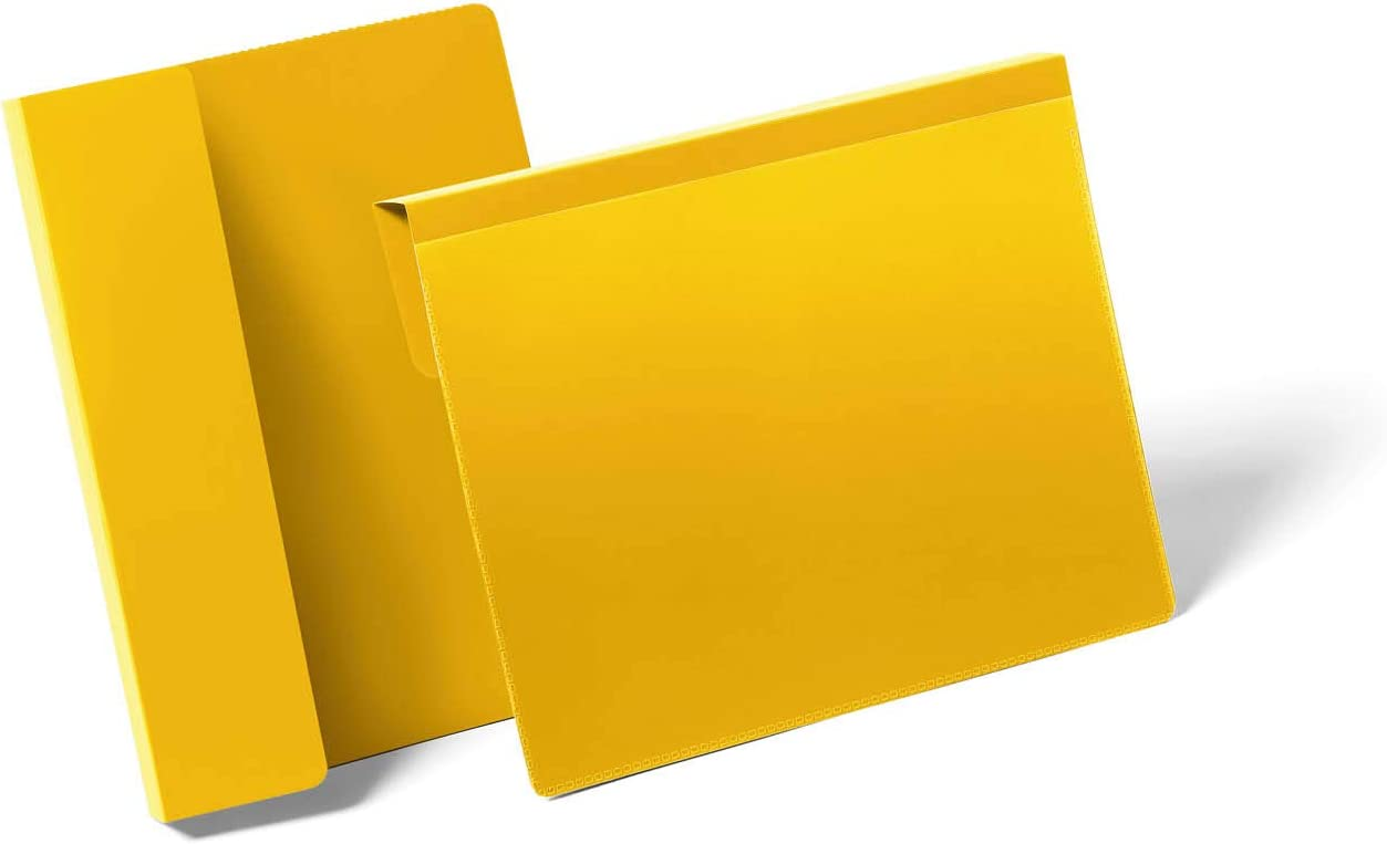 Durable 172304 Kennzeichnungstasche mit Falz f/ür Dokumente in A4 quer Gelb Packung /à 50 St/ück