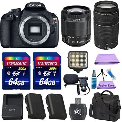 Canon EOS Rebel T5 DSLR Camera Body + Canon EF-S 18-55mm IS II + Canon EF 75-300mm f/4-5.6 III Lens + Extra Battery + 2pc 64GB Memory Cards + Deluxe Case + LED Light + Paging Zone Cleaning Kit (Canon 600mm Ii Lens compare prices)