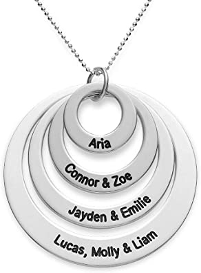rings names necklace engraved ring necklace gift for mom Engraved names necklace circle of life necklace gift for childbirth