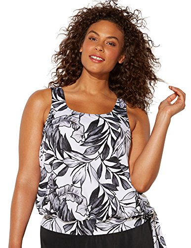 Swimsuits for All Women's Plus Size Black White Palm Blouson Tankini Top 8 - Top Wire