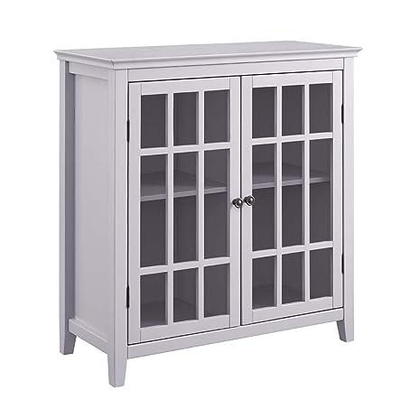 Amazon Linon Leslie Gray Double Door Cabinet Kitchen Dining