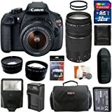 Canon EOS Rebel T5 Digital Camera SLR Kit With Canon EF-S 18-55mm IS II + Canon EF 75-300mm f/4.0-5.6 III Autofocus Lens + 32GB Card and Reader + Wide angle and Telephoto Lenses + Battery + Filters + Accessory Kit