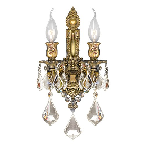 Worldwide Lighting Versailles Collection 2 Light French Gold Finish & Golden Teak Crystal Wall Sconce 12