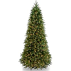 "National Tree 9 Foot ""Feel Real"" Jersey Frasier Fir Slim Tree with 1000 Clear Lights, Hinged (PEJF1-304-90)"