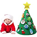 VICBOND 3D DIY Felt Christmas Tree with 18 Felt Ornaments, Children Friendly Christmas Tree Game, 28 inch Tall Tapered Felt Tree, 20 inch Wide Diameter, Gifts Home Decorations
