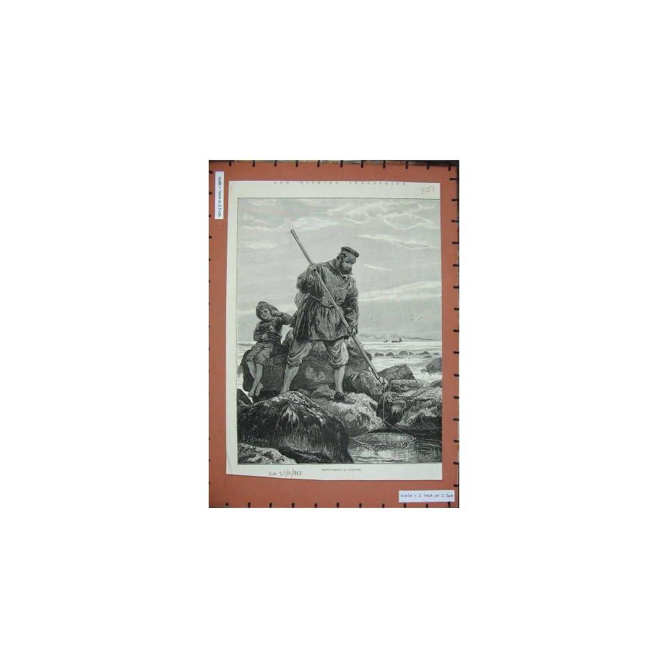 1883 Fishing Industries Prawn Hastings Men Nets Art
