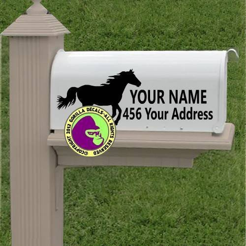 [Running Horse MAILBOX - CUSTOM ADDRESS - Vinyl Decal Sticker B] (Event Horse Boot)
