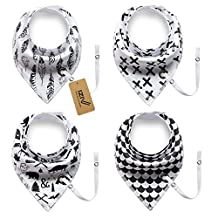 iZiv 4 PACK Baby Bandana Drool Bibs with Adjustable Snaps Pacifier Clip, Absorbent Soft Cotton Lining 0-2 Years (Color-6)