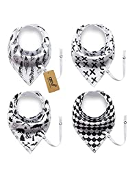 iZiv 4 PACK Baby Bandana Drool Bibs with Adjustable Snaps Pacifier Clip, Waterproof TPU Lining 0-2 Years (Color-6)