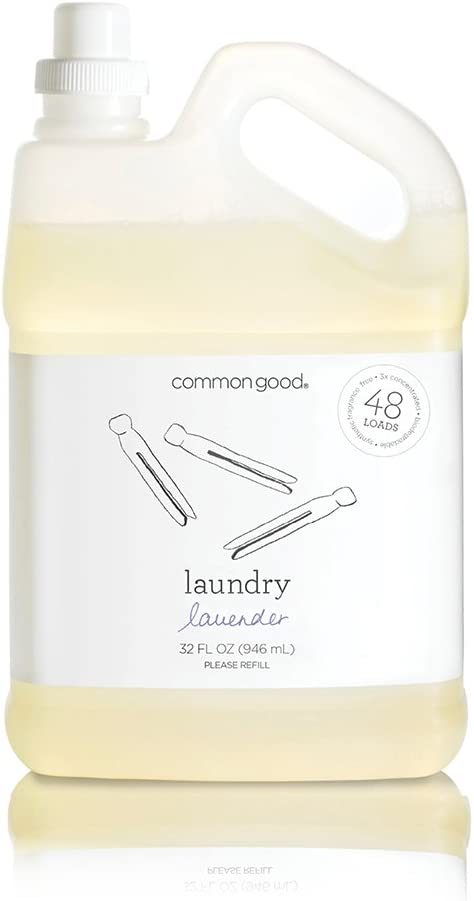 Common Good - Laundry Detergent, Plant-Based Ingredients, Enzymes for Powerful Stain Removal and Readily Biodegradable, Leaping Bunny Certified, 48 Loads (Lavender Scent, 32 ounces)