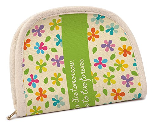 Women Daisy Floral Design Printed Canvas Zippy Coin Purse Wallet WAS_25