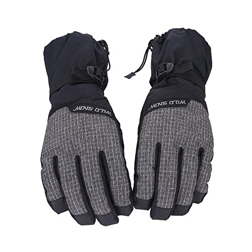 Unistrengh Mens and Womens Ski Gloves Waterproof Windproof Snowboard Gloves for Outdoor Winter Snow Sports Skiing Snowboarding (Medium, Black/White Checked)