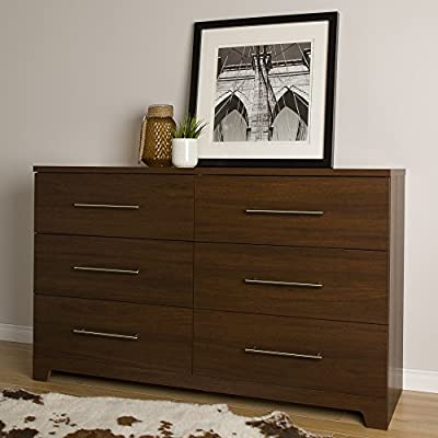 South Shore Primo 6-Drawer Double Dresser, Brown Walnut - Metal handles with a Nickel finish Metal drawer slides Requires complete assembly by 2 adults (tools not included) - dressers-bedroom-furniture, bedroom-furniture, bedroom - 51gTLlYS0mL. SS400  -