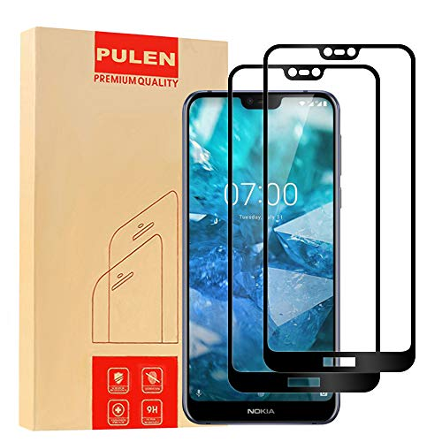 [2-Pack] PULEN for Nokia 7.1 Screen Protector,HD Bubble Free Anti-Fingerprints 9H Hardness Tempered Glass for Nokia 7.1 5.84,Lifetime Replacement (Black)