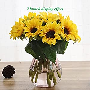 Artfen Artificial Sunflowers 6 Pcs Fake Sunflowers Preserved Flower Bouquet Bride Bridesmaid Holding Flowers Artificial Flowers for Home Hotel Office Wedding Party Garden Craft Art Decor 2