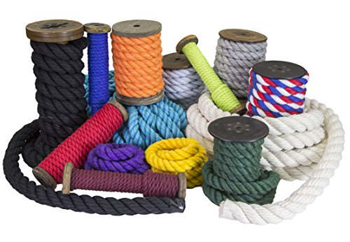 FMS Tri-Color Natural Twisted Cotton Rope Ravenox | (Black, Black & Royal Blue)(1/2-inch x 10-Feet)| Made in The USA | 3-Strand Rope by The Foot for Macramé, Décor & Design, Sports, Pet Toys, Craft by FMS (Image #3)