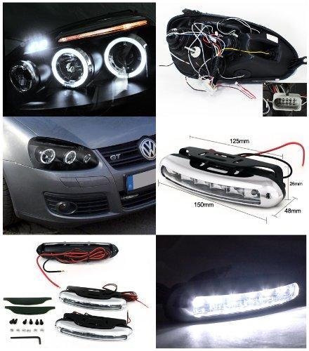 Volkswagen Jetta Projector Headlights Black W/Led Strip Fog Lamps