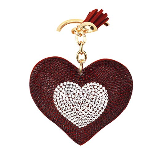 (Acamifashion Women Love Heart Pendant Key Chain Rhinestones Tassel Keychain Gift - Crimson)