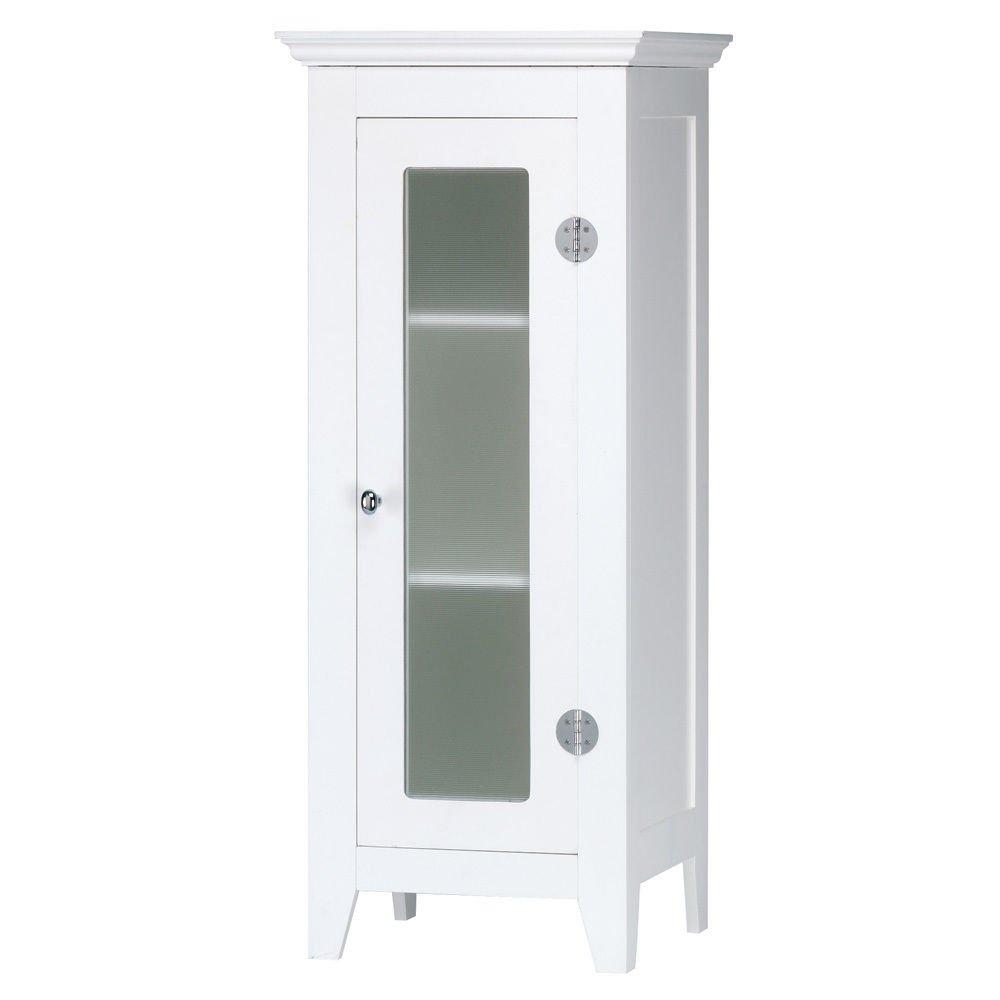 GHP Home Furniture 13-3/4''x11-3/4''x33'' Bathroom Wood White Finish Storage Cabinet