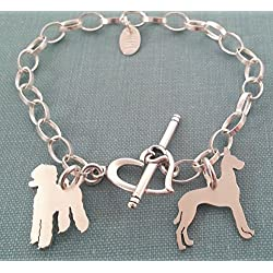 .925 Sterling 2 Dog charm Bracelet you select your breeds