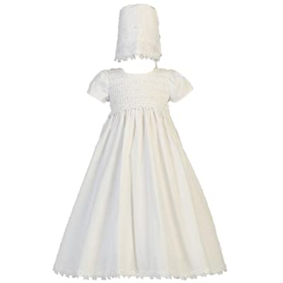 Baby Girl White Cotton Smocked Gown Christening Baptism Hat Set