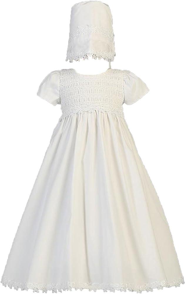 Lito Baby Boys White Smocked Cotton Romper Baptism Christening Set 0-24M