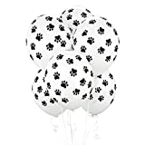 """BirthdayExpress Puppy Dog Party Supplies 12"""" Latex Balloons with All Over Paw Print Decoration (6 Count)"""