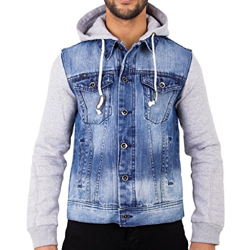 Arrested Development Mens Hooded Denim Jacket Stonewash with Grey Jersey Sleeves by Large