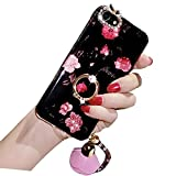 Bling iPhone 6 Plus Case, Bonice Diamond Glitter Luxury Crystal Rhinestone Soft Rubber Bumper Full Body Case with 360 Ring Stand Holder for iPhone 6S Plus / 6 Plus - Flower 01