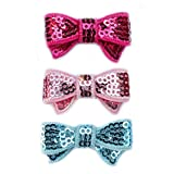 Sequin Bow Hair Clip - Toddler TruStay Clip - Best NO Slip Barrette For Fine Hair (Pack1-Hot Pink/Pink/Blue)