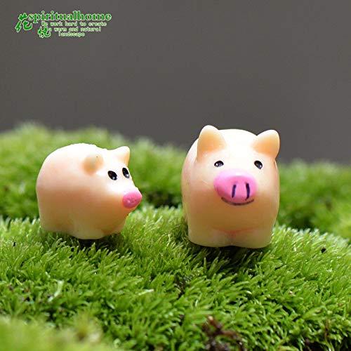 Pig Mom and Kid 2pcs DIY Dollhouse Accessories Mini Miniature Fairy Garden Ornament Decor Pot Craft