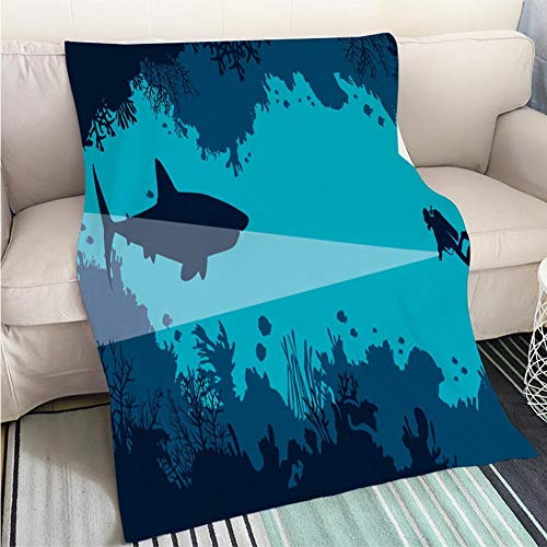 Shark Fun Fish Caves - BEICICI Custom homelife Abstract Home Decor Printing Blanket Underwater cave Scuba Diver Shark Coral Fish sea Fun Design All-Season Blanket Bed or Couch