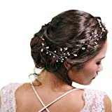 ULAPAN Wedding Hair Vine Wedding Hairpiece Hairpin Rhinestones Bridal Hairpiece Headband Wedding Headwear with Ribbon (HP38-Silvery)